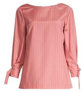Lafayette 148 New York Kim Striped Tie-Sleeve Blouse