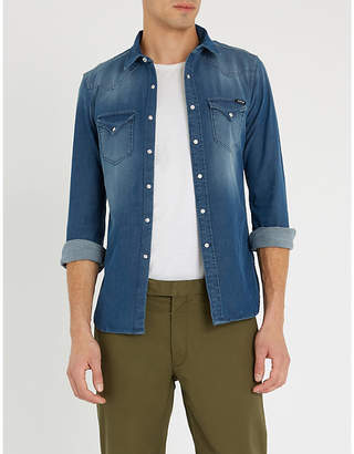 Replay Faded stretch-denim shirt