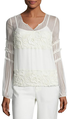 Elie Tahari Maeve Embroidered Plissé Silk Blouse $428 thestylecure.com