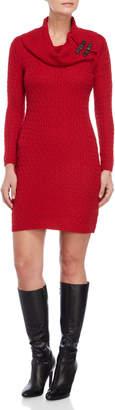 Sandra Darren Petite Cowl Neck Cable Knit Sweater Dress
