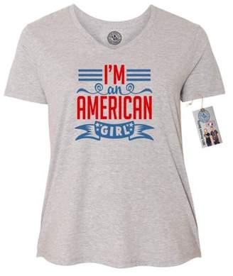 8a01172d5f3 at Walmart.com · Custom Apparel R Us I m an American Girl Cute USA Plus  Size Womens VNeck