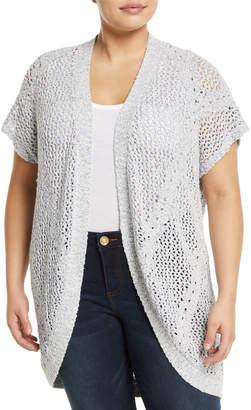 Bobeau Ysabel Crocheted Dolman-Sleeve Cardigan Plus Size