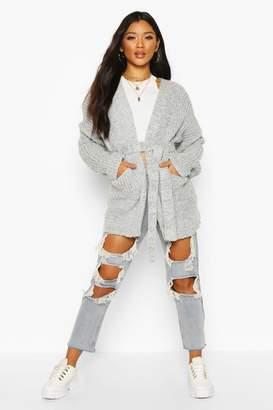 boohoo Chunky Marl Knit Belted Cardigan