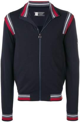 Ermenegildo Zegna Techmerino contrasting stripes zip jumper