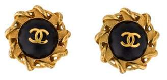Chanel Vintage Leather CC Clip-On Earrings Gold Chanel Vintage Leather CC Clip-On Earrings