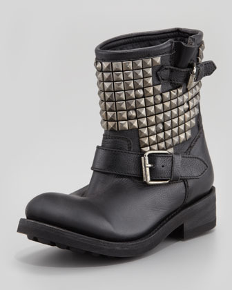 Ash Titan Studded Leather Short Boot