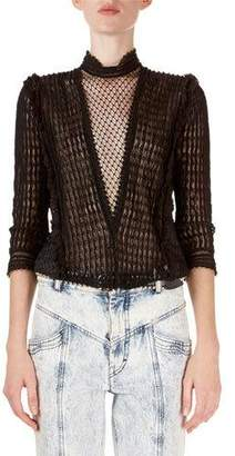 Isabel Marant Roscoe 3/4-Sleeve Sheer Lattice Lace Blouse