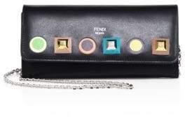 Fendi Long Rainbow Studded Leather Chain Wallet