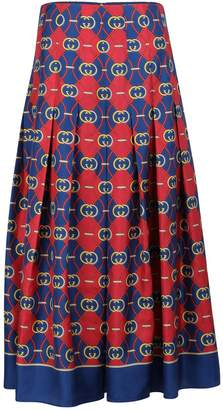Gucci GG waves pleated silk skirt