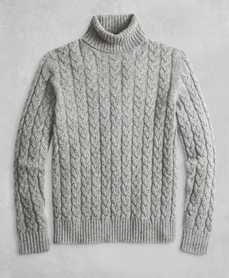Brooks Brothers Golden Fleece 3-D Knit Marled Alpaca-Blend Turtleneck Cable Sweater