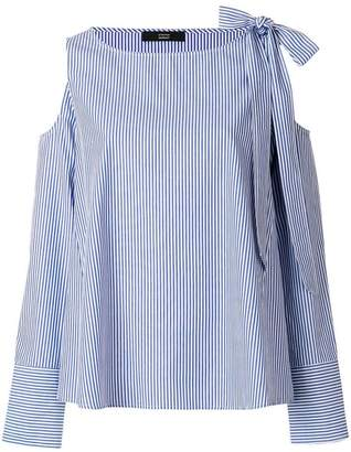 Steffen Schraut striped cold shoulder blouse