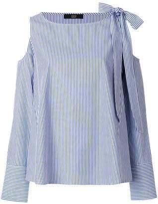 Steffen Schraut striped cold shoulder blouse
