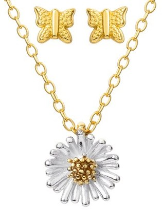 """Brilliance+ Believe By Brilliance STERLING SILVER 14KT GOLD PLATED FLOWER PENDANT AND BUTTERFLY EARRING SET, 18"""" + 2"""""""
