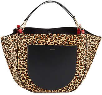 Wandler Mia Calf Leopard Tote Bag