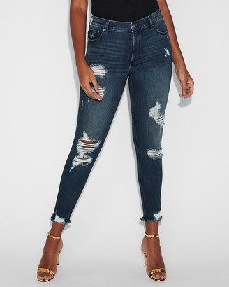 Express High Waisted Denim Perfect Ripped Ankle Leggings