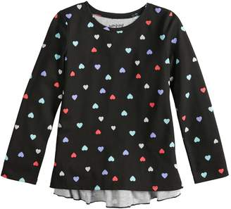 Girls 4-12 Jumping Beans Long-Sleeve Glitter Graphic Ruffled-Back Tee