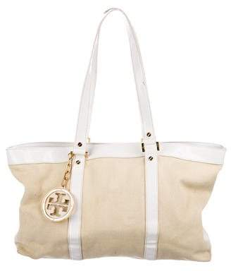 Tory Burch Patent-Leather Trimmed Canvas Tote