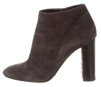 Burberry Suede Round-Toe Ankle Booties