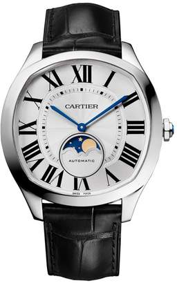 Cartier Stainless Steel Drive de Moon Phase Watch 40mm