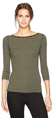 Three Dots Women's Tahoe Stripe 3/4 SLV British Tight Long Shirt