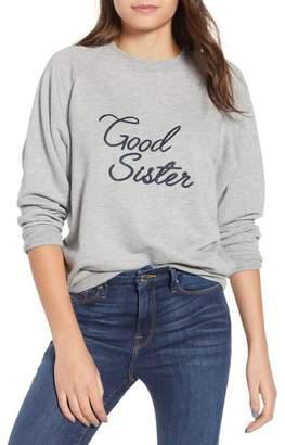 Good American Front Print Knit Sweatshirt