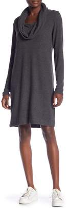 Joan Vass Heathered Cowl Neck Dress