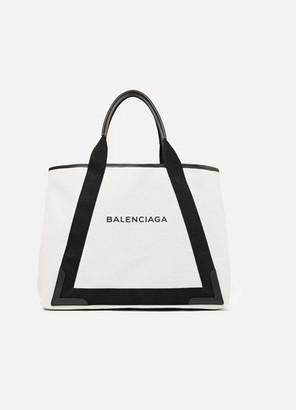 Balenciaga Cabas Leather-trimmed Canvas Tote - Black