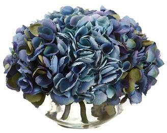 Silk Flower Depot 9 Hydrangea Floral Arrangement in Glass Vase