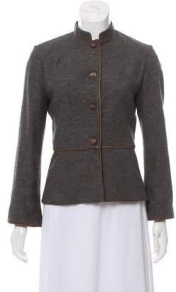Lela Rose Mandarin Collar Wool Jacket