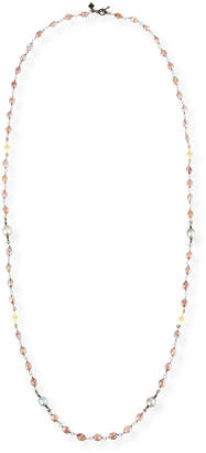 Armenta Old World Beaded Peach Moonstone Necklace with Diamonds, 38