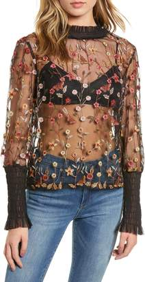 Endless Rose Embroidered Mesh Top