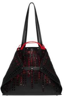 Akris Medium Lasercut Leather Shoulder Bag
