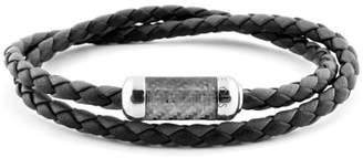 Tateossian Men's Double-Wrap Leather Bracelet, Size L