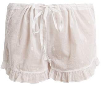 Pour Les Femmes - Embroidered Ruffle Hem Cotton Shorts - Womens - White