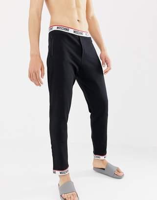 Moschino cotton fleece lounge pant in black