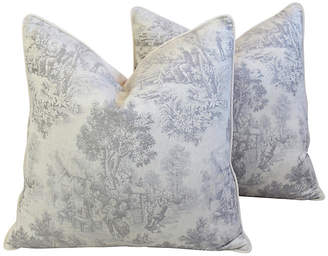 One Kings Lane Vintage French Country Woven Toile Pillows - Set of 2