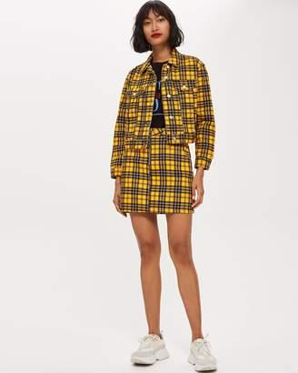 Topshop Check Denim Skirt