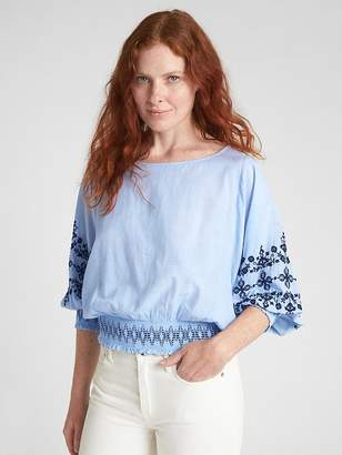 Gap Embroidered Long Sleeve Smocked Top