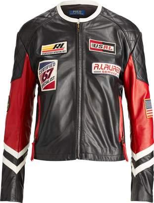 Ralph Lauren Patchwork Leather Biker Jacket