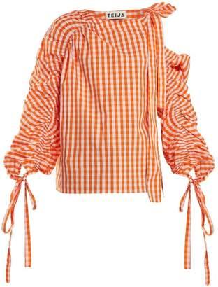 Teija - Asymmetric Cotton Gingham Top - Womens - Orange White