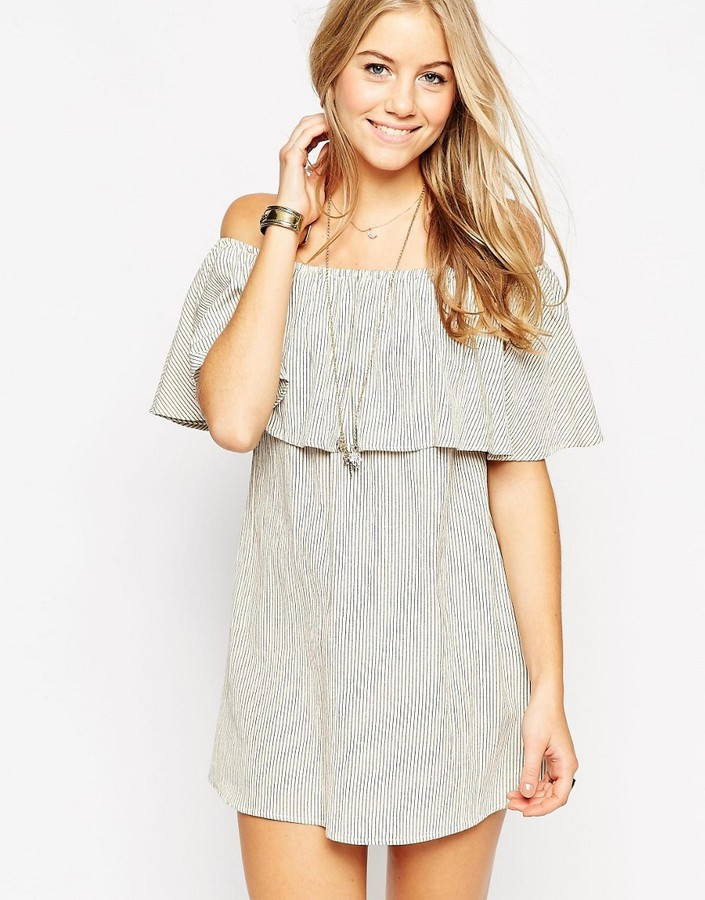 ASOS COLLECTION ASOS Small Stripe Off Shoulder Frill Sundress