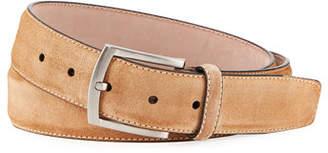 Magnanni Men's Suede Square-Buckle Belt
