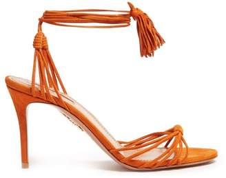 Aquazzura Mescal 85 Wrap Around Suede Sandals - Womens - Orange
