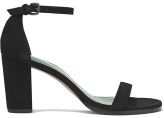 Stuart Weitzman - Nearlynude Suede Sandals - Black $400 thestylecure.com