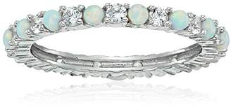 Sterling Silver Alternating Created and White Sapphire September Birthstone Eternity Band Ring