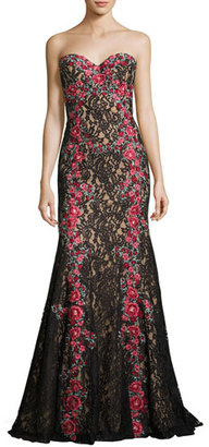 Jovani Strapless Embroidered Floral Lace Gown, Black/Multicolor $760 thestylecure.com