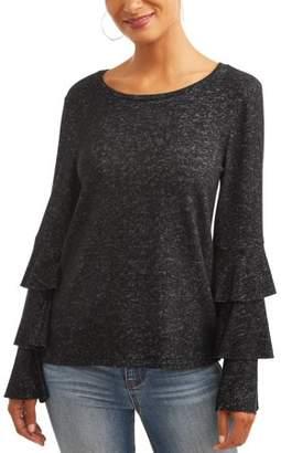 Jillian Nicole Women's Super Soft Layered Ruffle Sleeve Sweater