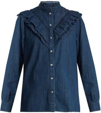 A.P.C. Suzie ruffle-trimmed cotton-chambray shirt