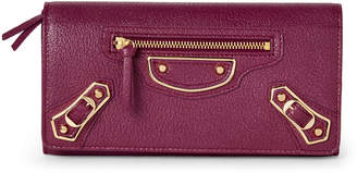 Balenciaga Violet Prune Metallic Edge Continental Wallet