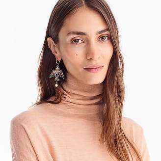 J.Crew Leather-backed beaded bird earrings